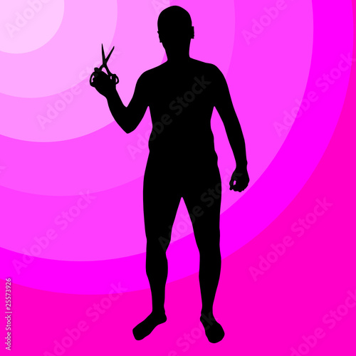 man holding scissors vector silhouettes