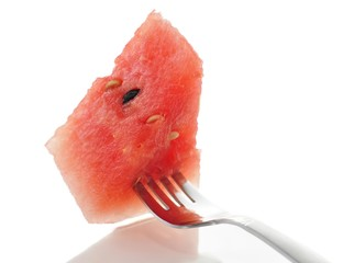 watermelon on a fork