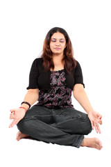 Meditating Young Indian Woman