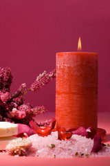 Spa composition with candle