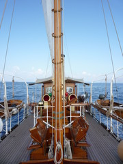 Classic wooden yacht deck and mast