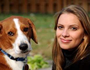 Girl and her dog.