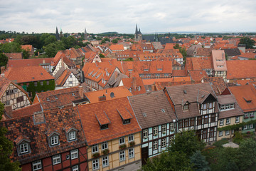 Cityscape of medieval city Quedlinburg in the Harz, Germany
