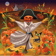 Scarecrow with pumpkins. Vector illustration. Isolated objects