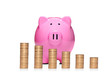 Stack of coins in front of pink piggy bank showing growth isolat