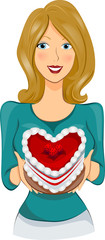 Girl With Heart Shaped Cake