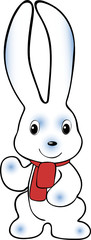 White rabbit with red scarf
