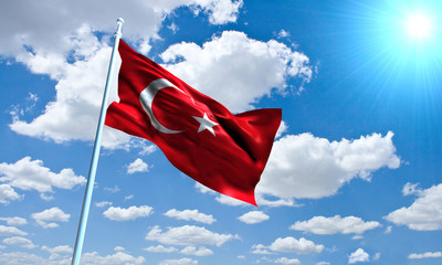 Turkish Flag in front of vivid, sunny, cloudy sky