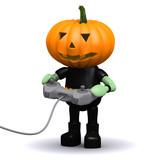 3d Pumpkin man plays videogames poster