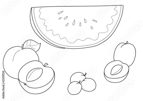 Frutta da colorare: anguria pesca albiccocca susina