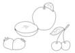 Frutta da colorare: fragole mele e ciliege