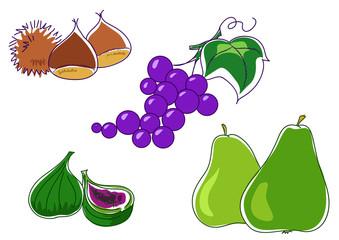 Frutti d'autunno:castagne fichi uva e pere