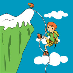 Young climber facing trouble as he ascends a mountain