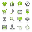 Basic web icons.   Gray and green series.