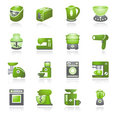 Home appliances. Gray and green series.