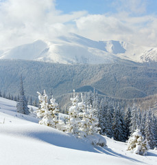 Snowy winter mountain landscape