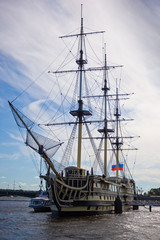 Ancient vessel on the Neva-river in Saint Petersburg