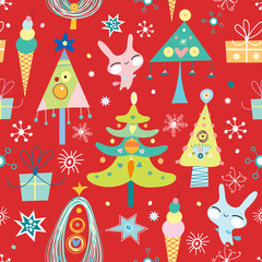 seamless pattern christmas trees and bunnies