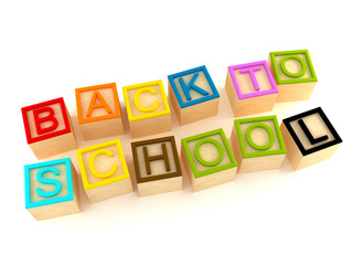 Back to school - wood letters cubes