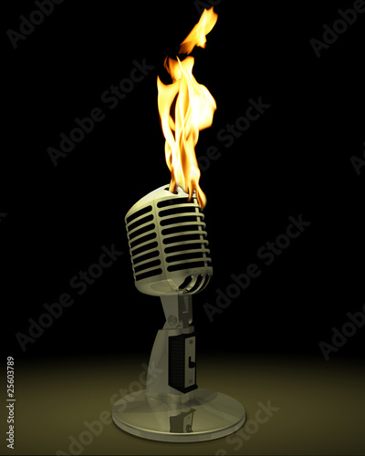 Vintage microphone on fire