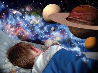 Boy dreaming about universe