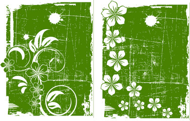 the green vector grunge background set