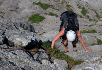 Female climber in Uskedalen, Norway