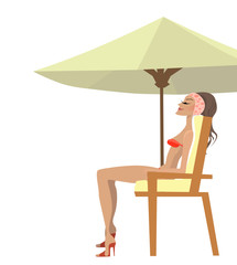 girl with a bikini sitting under an umbrella