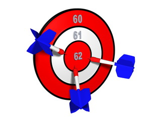 Target with different retirement numbers and three french darts
