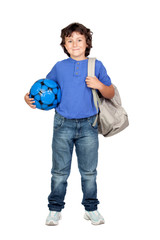 Beautiful student child with backpack and soccer ball