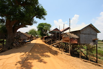 Houses on stilts at a village