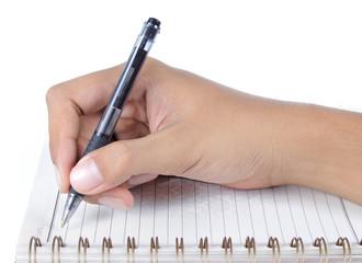 man hand write on a book