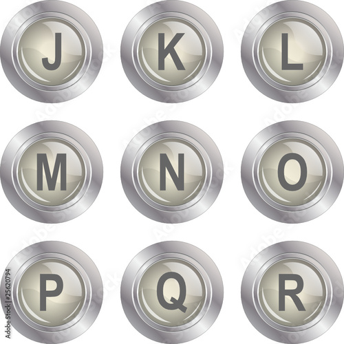 Alphabet Button - J-R