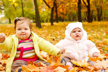 Kids playing with yellow leaves
