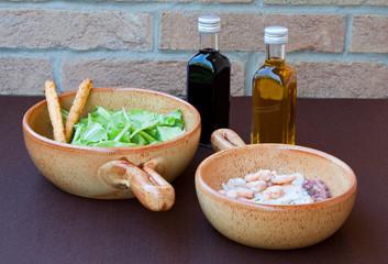 gamberetti con insalata