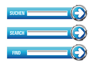 3D Glossy Search Buttons in Blau