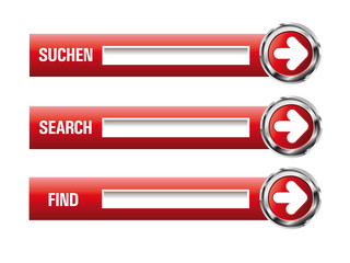 3D Glossy Search Buttons in Rot