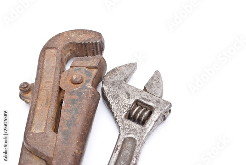 Rusty metal screw-wrenches
