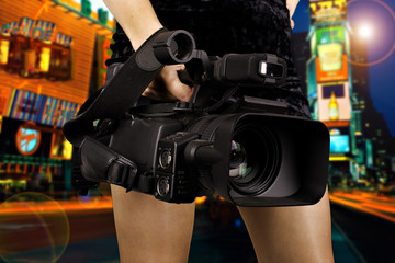 Attractive videographer in New York