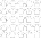 Polo & button down shirts outline vector templates