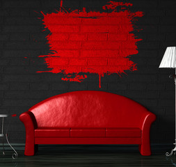 Red sofa, table and standard lamp with splash frame on the wall