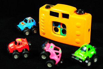 toy camera and car model