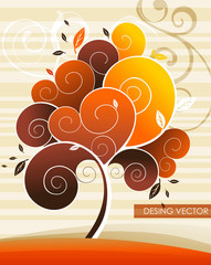 tree autumn abstract vector
