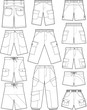 Pant outline vector templates
