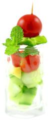 verrine fraîcheur entrée végétarienne, fond blanc