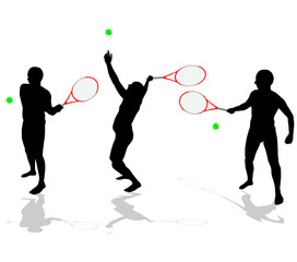 tennis players vector black silhouettes