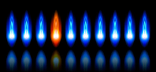 blue & red flames of a burning natural gas and reflection