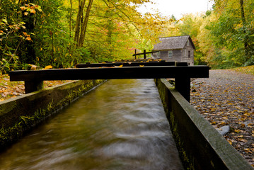 Water flowing in water mill aqueduct at Mingus Mill in Smoky Mou