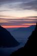 Mountain sunset in the Nepal Himalaya. Ravine Deurali.