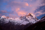 Mount Machapuchare sunset - view from Annapurna base camp. poster